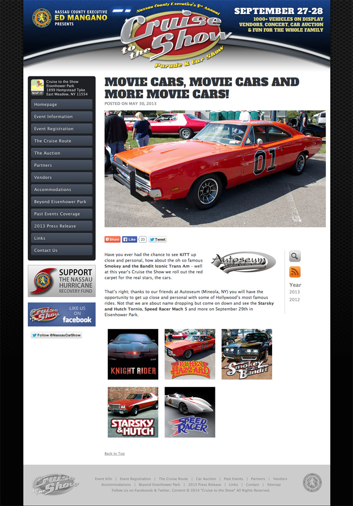 Cruise To The Show Logo And Website Steve Castro Graphic Web - Eisenhower park car show