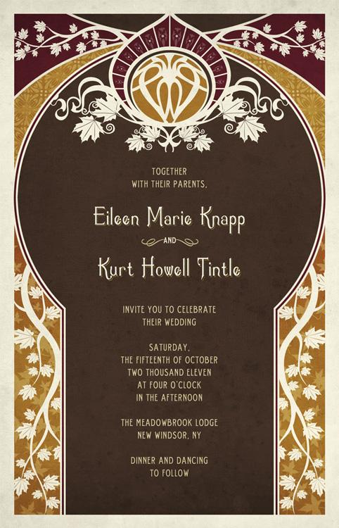 Eileen and Kurt Art Nouveau Wedding Invitations   Steve Castro ...