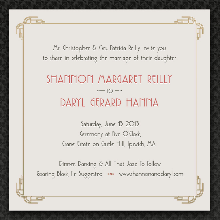 Shannon And Daryl Art Deco Wedding Invitations And Website
