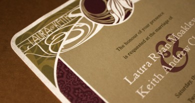 Laura and Keith Art Nouveau Wedding Invitations